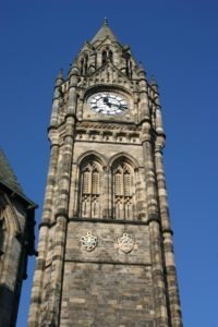An image of a clock tower in Rochdale.